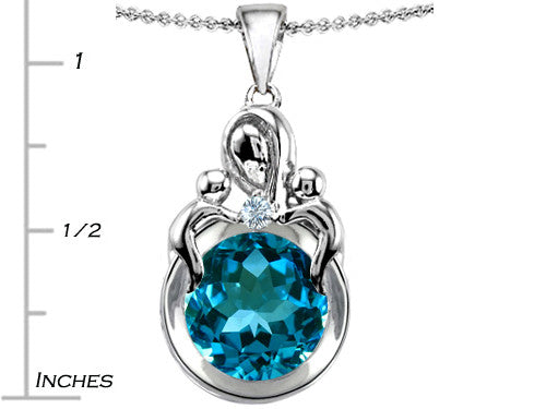 Star K Loving Mother with Twins Children Pendant Necklace with Round 10mm Simulated Blue-Topaz Sterling Silver