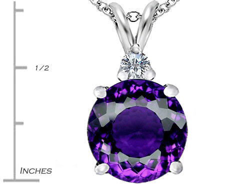 Star K 12mm Round Simulated Amethyst Pendant Necklace Sterling Silver