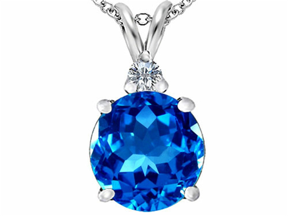 Star K 12mm Round Simulated Blue-Topaz Pendant Necklace Sterling Silver