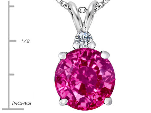 Star K 12mm Round Created Pink Sapphire Pendant Necklace Sterling Silver