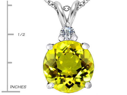 Star K 12mm Round Simulated Peridot and Cubic Zirconia Pendant Necklace Sterling Silver