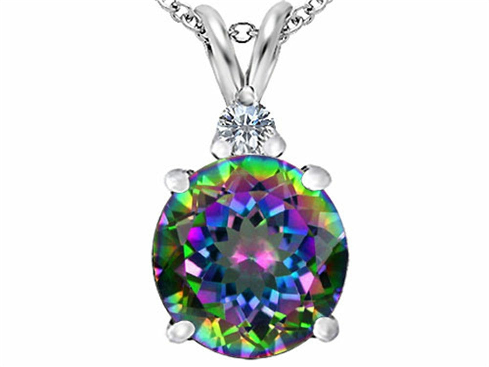 Star K 12mm Round Rainbow Mystic Topaz Pendant Necklace Sterling Silver