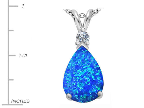 Star K Pear Shape Blue Created Opal Pendant Necklace Sterling Silver