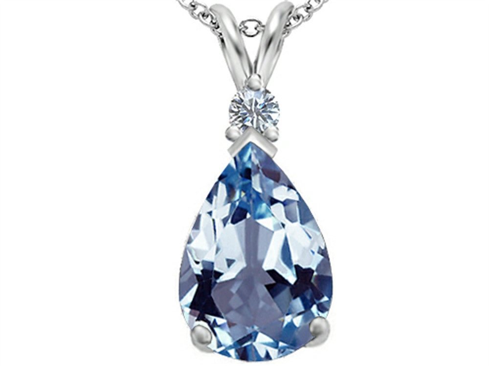 Star K Pear Shape Simulated Aquamarine Pendant Necklace Sterling Silver