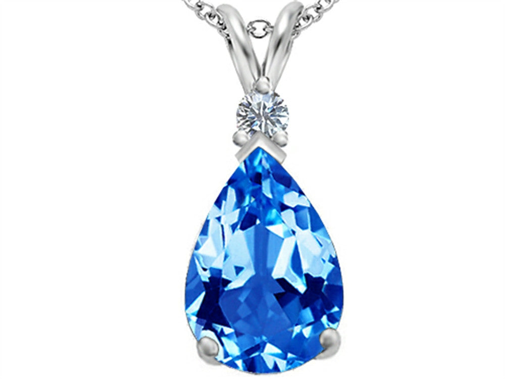 Star K Pear Shape Simulated Blue-Topaz Pendant Necklace Sterling Silver