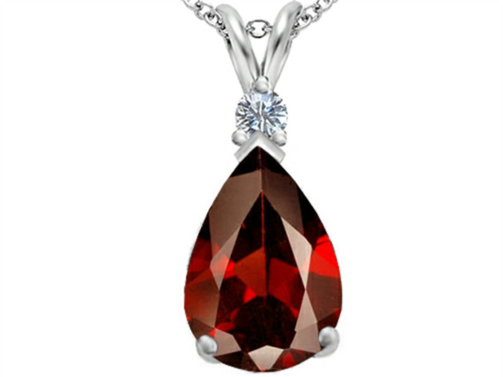 Star K Pear Shape Simulated Garnet Pendant Necklace Sterling Silver
