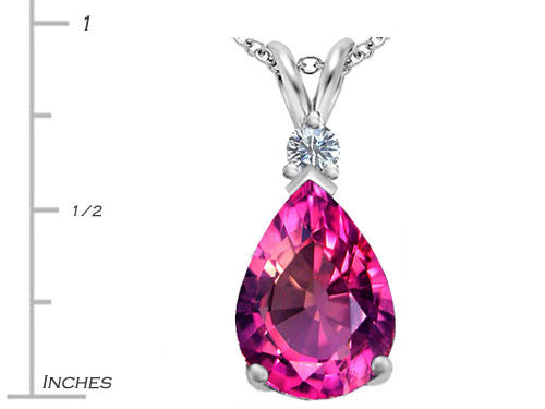 Star K Pear Shape Created Pink Sapphire Pendant Necklace Sterling Silver