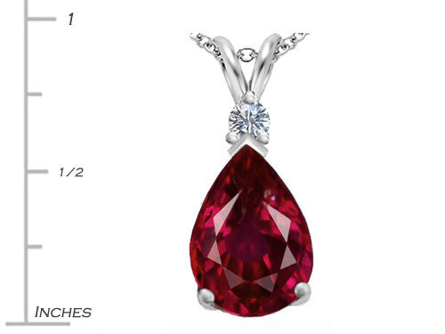 Star K Pear Shape Created Ruby Pendant Necklace Sterling Silver