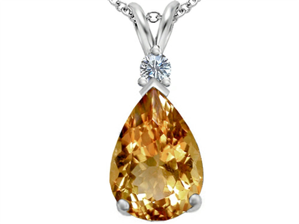Star K Pear Shape Simulated Imperial Yellow Topaz Pendant Necklace Sterling Silver