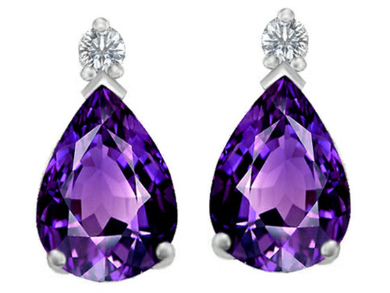 Star K 8x6mm Pear Shape Simulated Amethyst Earrings Studs Sterling Silver