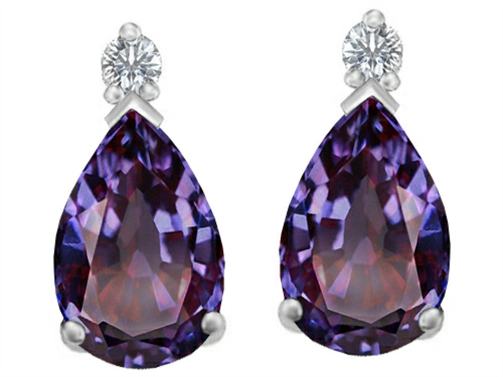 Star K 9x6mm Pear Shape Simulated Alexandrite Earrings Studs Sterling Silver