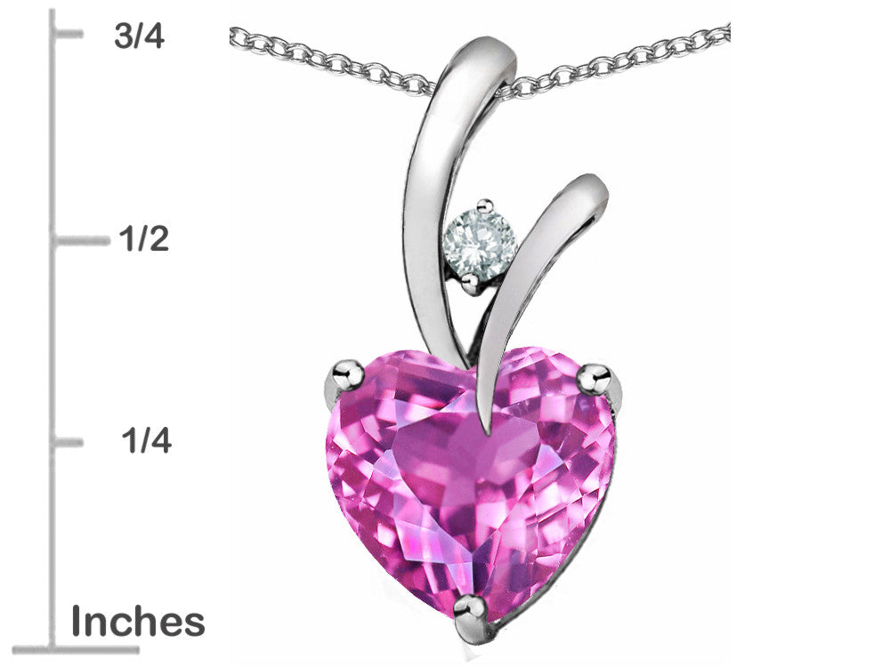 Star K Heart-Shape 8mm Created Baby Pink Sapphire Pendant Necklace Sterling Silver