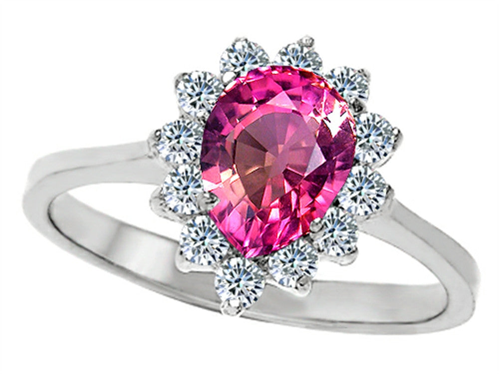 Star K 8x6mm Pear Shape Created Pink Sapphire Ring Sterling Silver Size 8