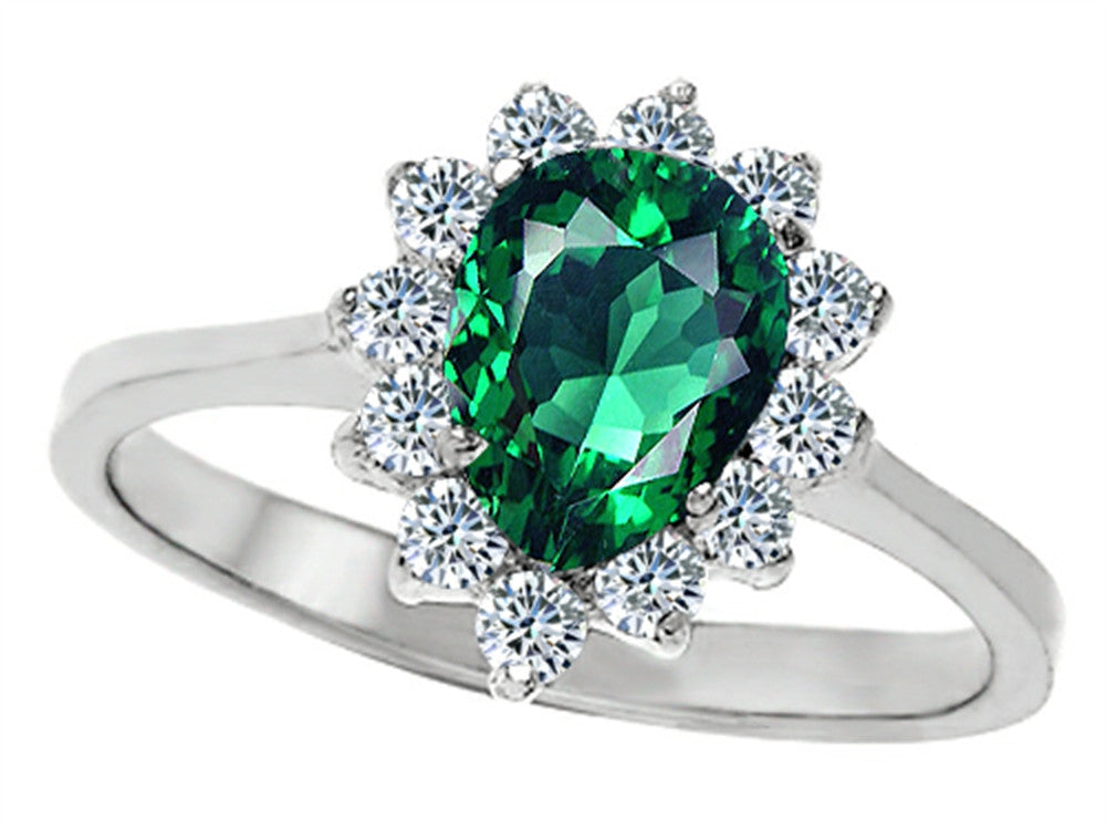 Star K 8x6mm Pear Shape Simulated Emerald Ring Sterling Silver Size 8