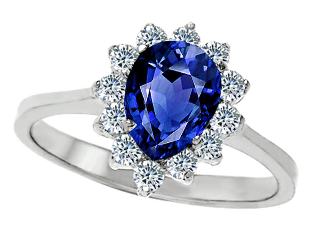 Star K 8x6mm Pear Shape Created Sapphire Ring Sterling Silver Size 8