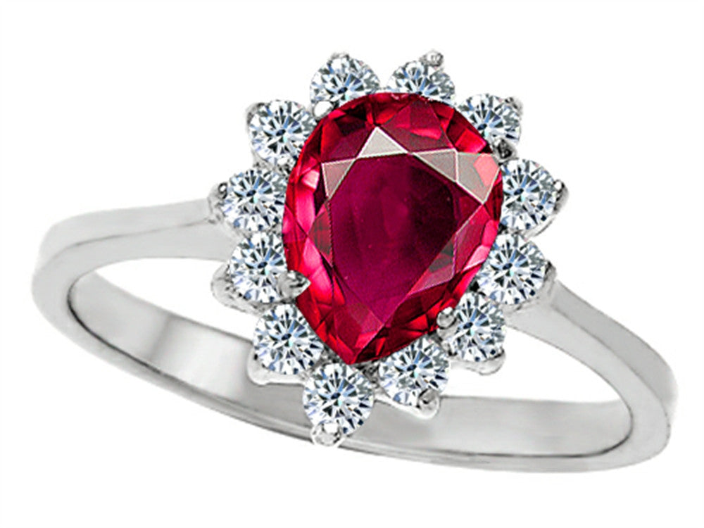 Star K 8x6mm Pear Shape Created Ruby Ring Sterling Silver Size 8
