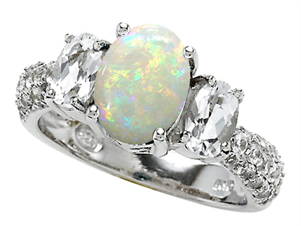 Star K Oval Simulated Opal Ring Sterling Silver Size 8