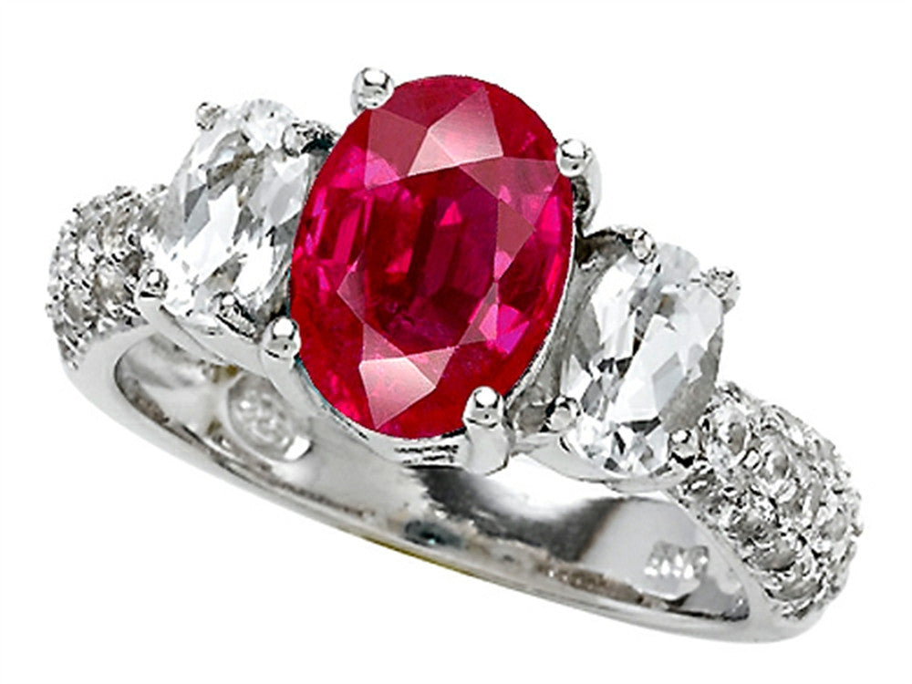Star K Oval Created Ruby Ring Sterling Silver Size 8
