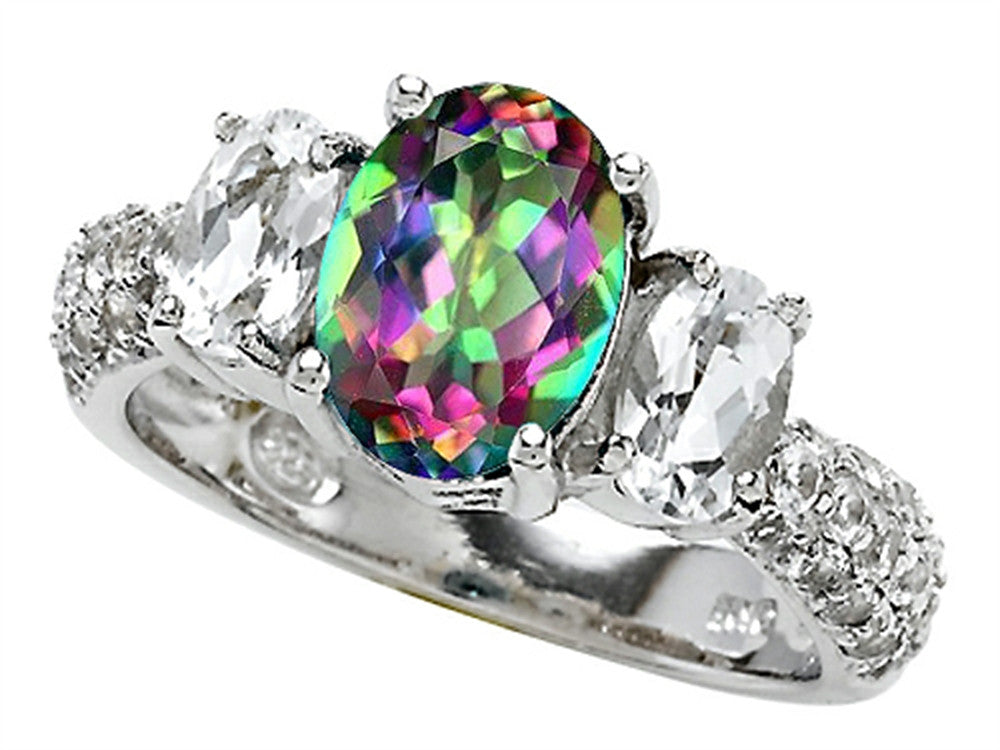 Star K Oval Rainbow Mystic Topaz Ring Sterling Silver Size 8