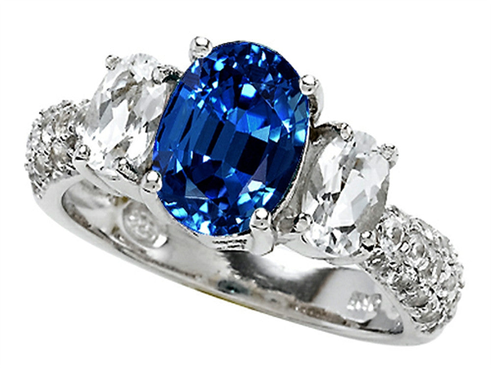Star K Oval Created Sapphire Ring Sterling Silver Size 8