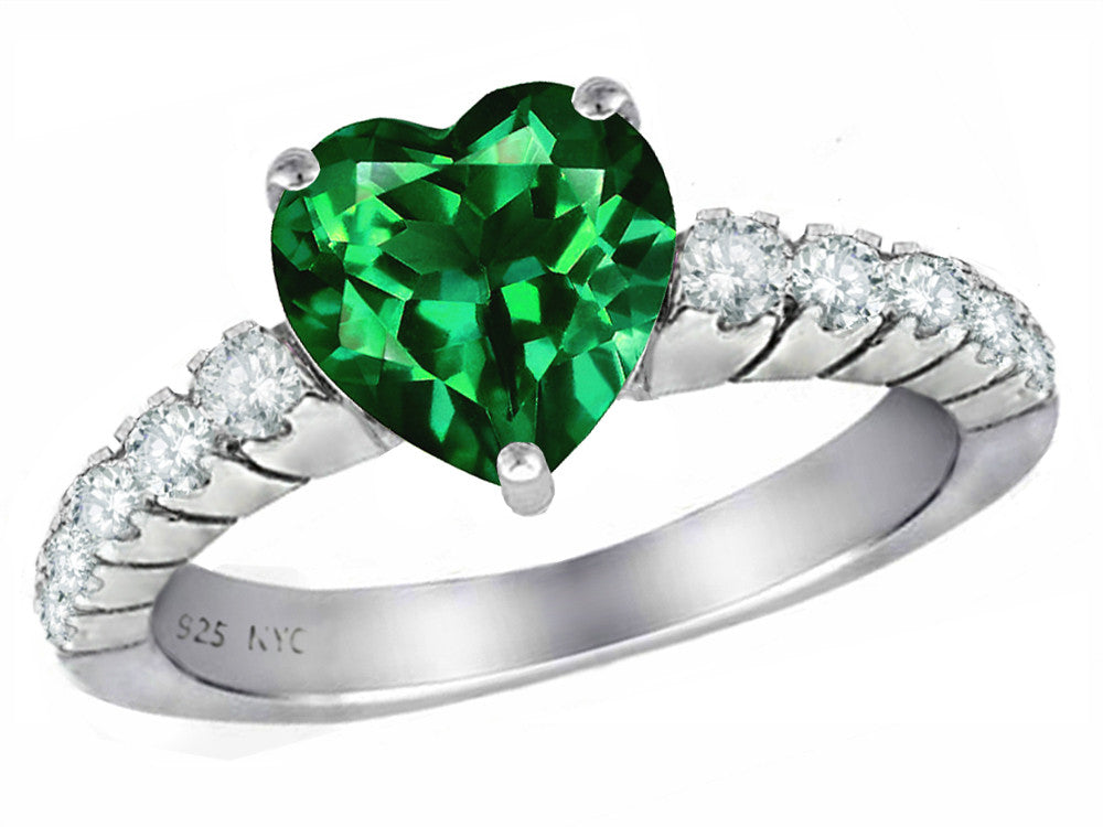 Star K 8mm Heart-Shape Simulated Emerald Ring Sterling Silver Size 9