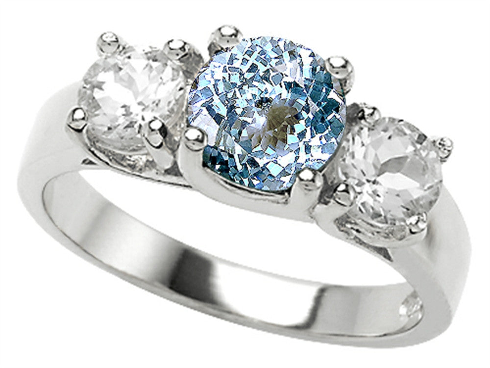 Star K 7mm Round Simulated Aquamarine Ring Sterling Silver Size 8