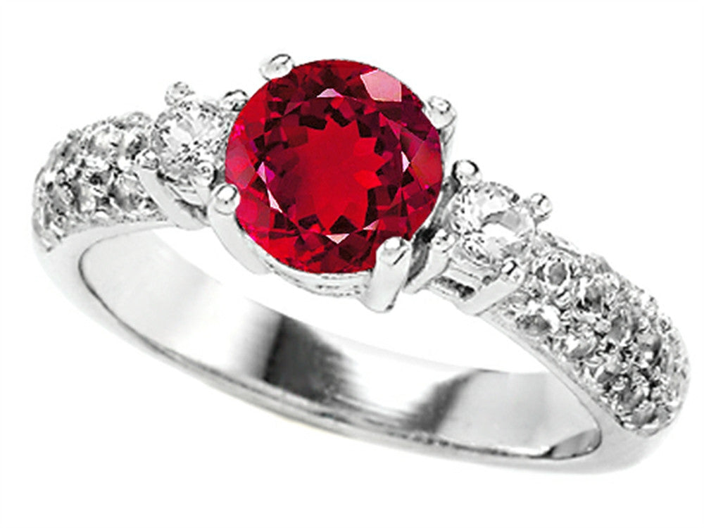 Star K 7mm Round Created Ruby Ring Sterling Silver Size 8