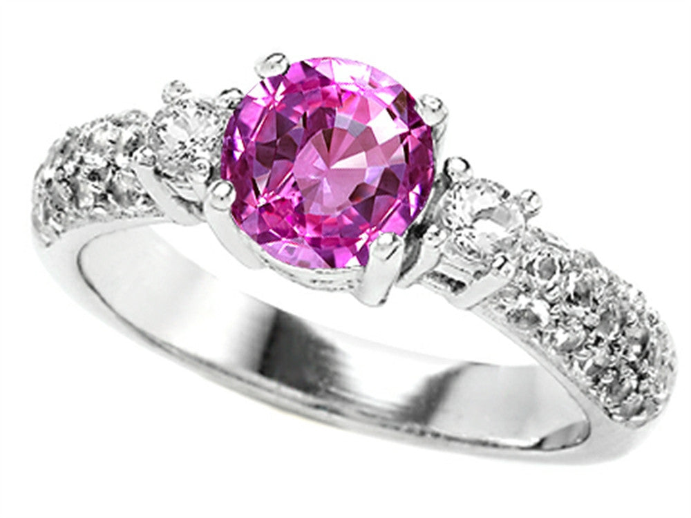 Star K 7mm Round Created Pink Sapphire Ring Sterling Silver Size 8