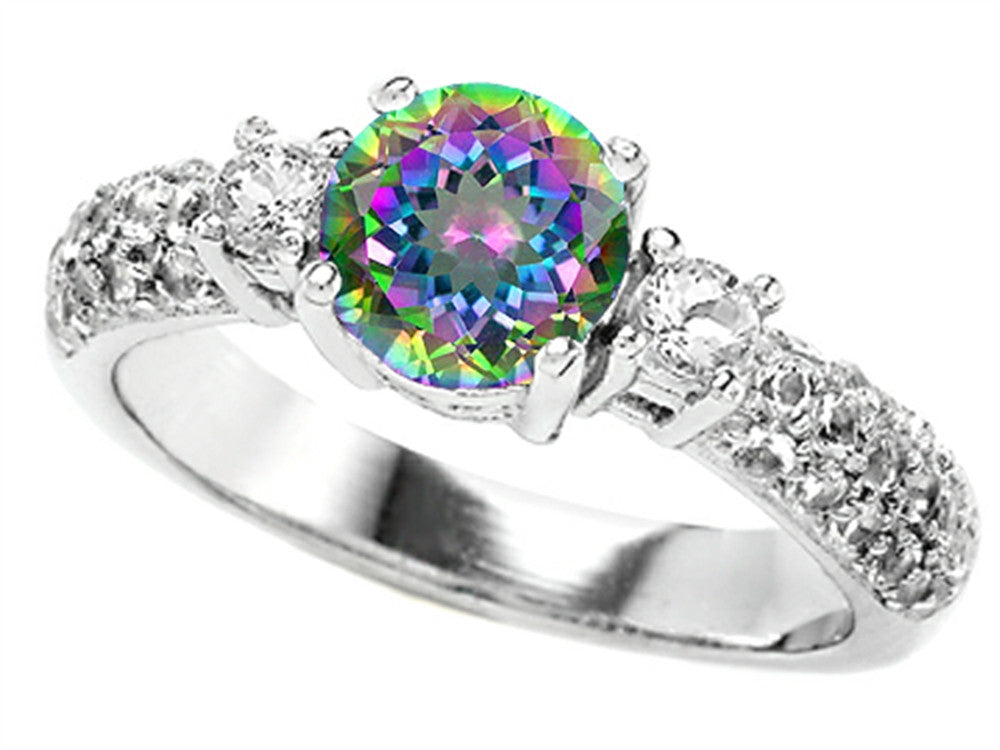 Star K 7mm Round Rainbow Mystic Topaz Ring Sterling Silver Size 8