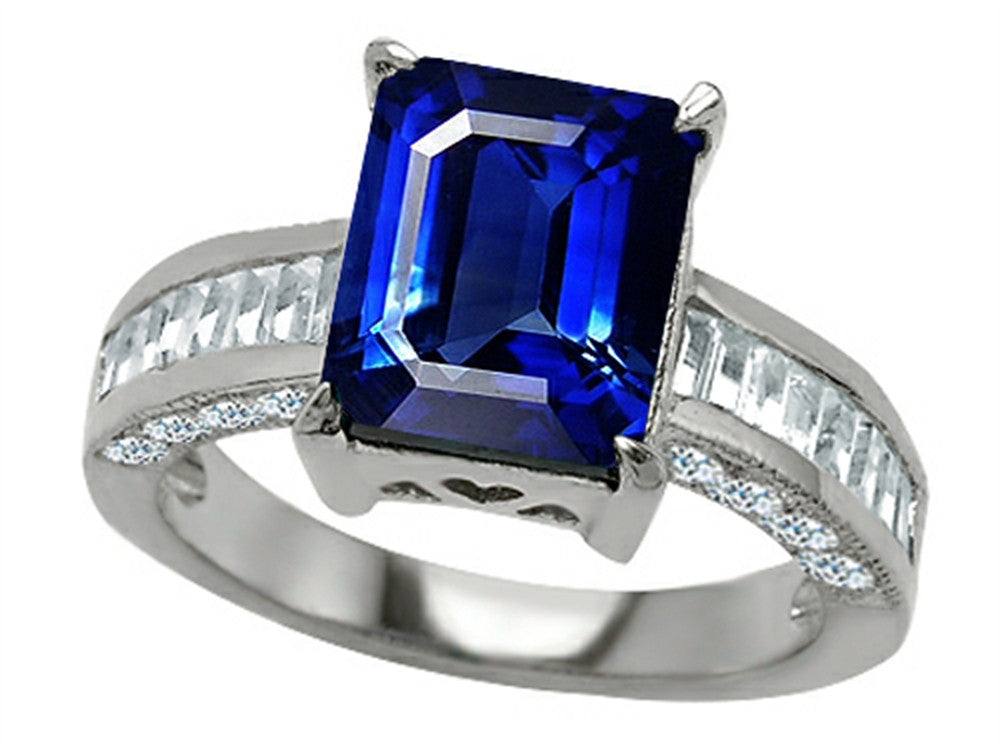 Star K 10x8mm Emerald Cut Created Sapphire Ring Sterling Silver Size 8