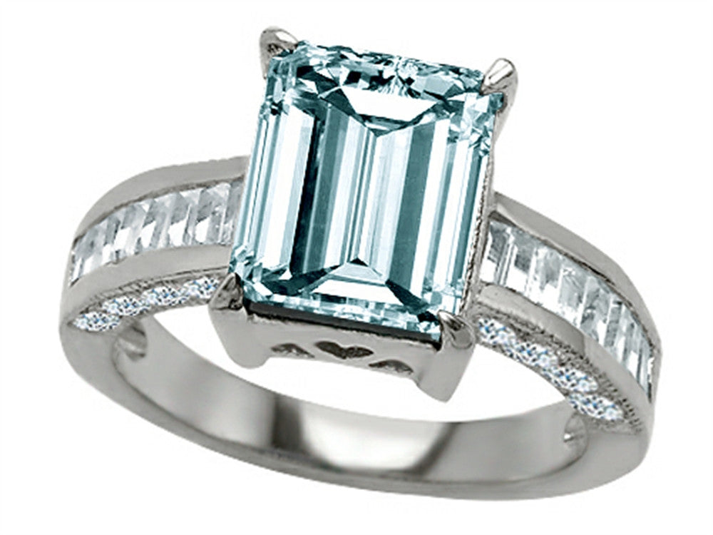 Star K 10x8mm Emerald Cut Simulated Aquamarine Ring Sterling Silver Size 8