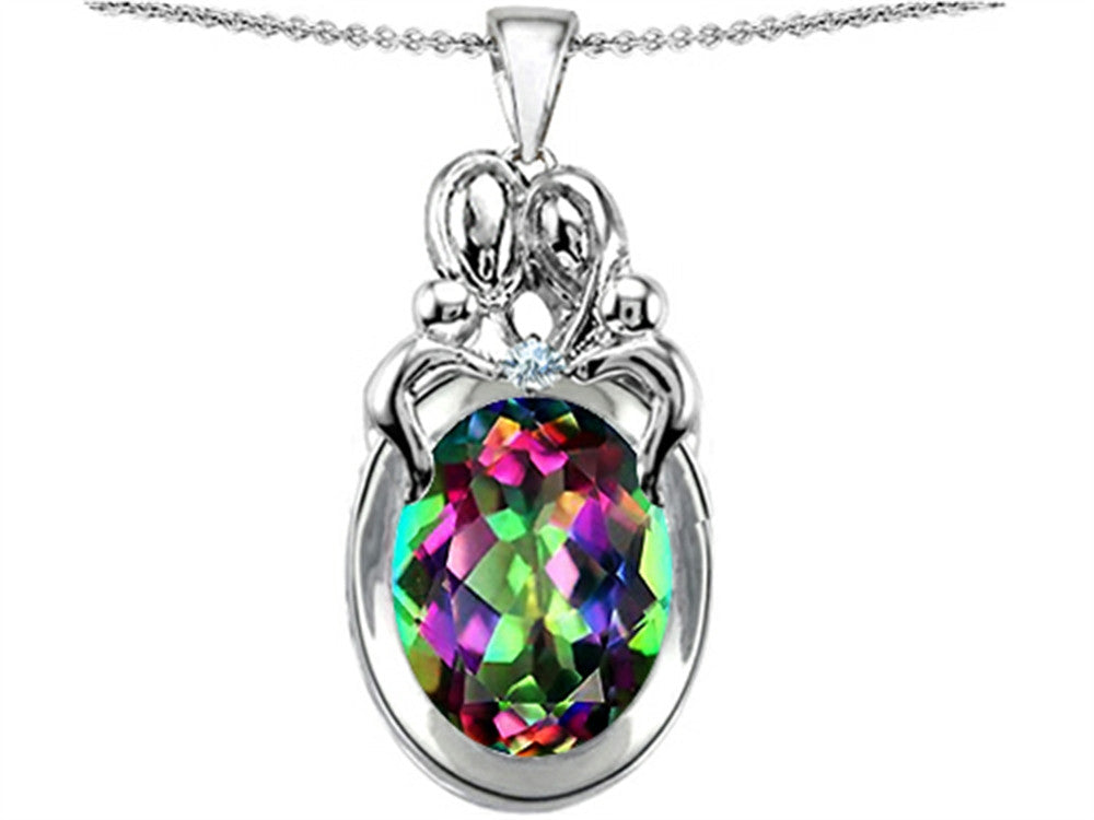Star K Loving Mother and Twins Family Pendant Necklace with Oval Rainbow Mystic Topaz Sterling Silver