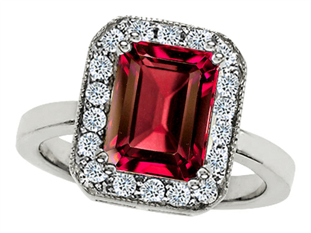 Star K 10x8mm Emerald Cut Created Ruby Ring Sterling Silver Size 8