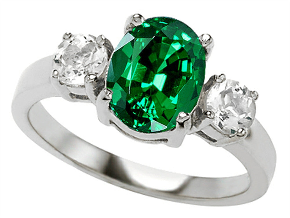 Star K Oval Simulated Emerald Ring Sterling Silver Size 8