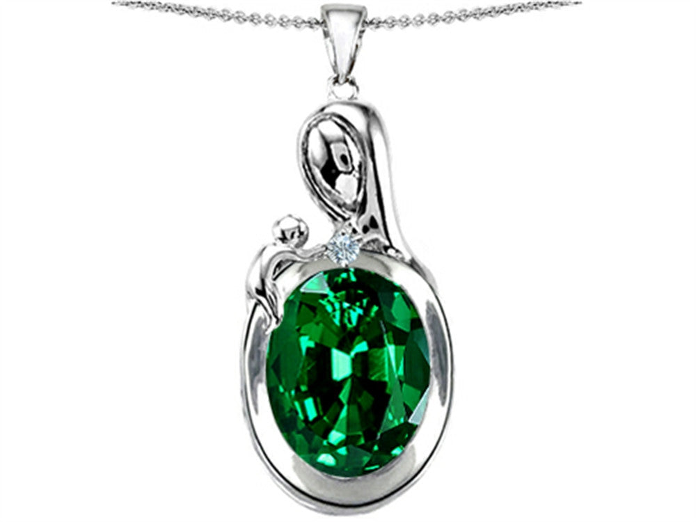 Star K Loving Mother with Child Family Pendant Necklace with Oval Simulated Emerald Sterling Silver