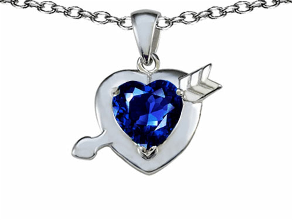 Star K Heart with Cupids Arrow Love Pendant Necklace with Created Sapphire Sterling Silver