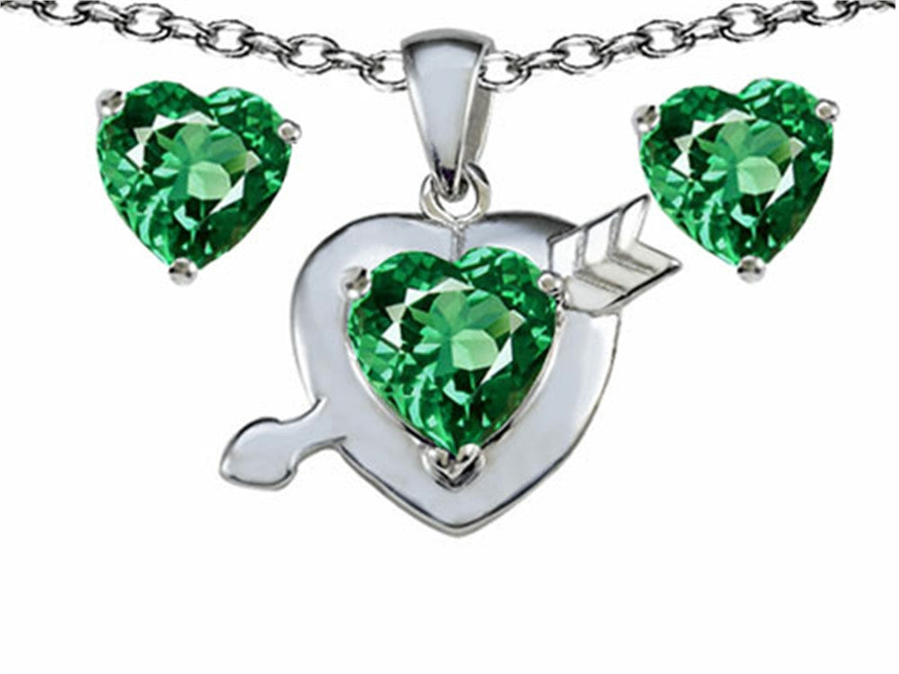 Star K Simulated Emerald Heart with Arrow Pendant Necklace with matching earrings Sterling Silver