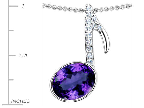 Star K Musical Note Pendant Necklace with Simulated Amethyst Oval Sterling Silver