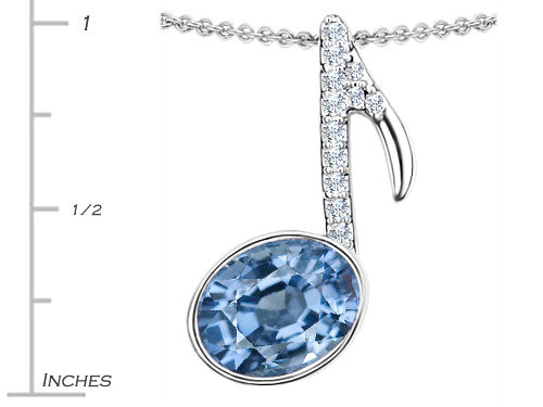 Star K Musical Note Pendant Necklace with Simulated Aquamarine Oval Sterling Silver