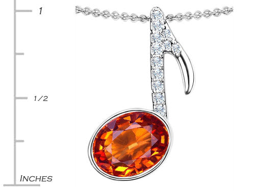 Star K Musical Note Pendant Necklace with Simulated Orange Mexican Fire Opal Oval Sterling Silver