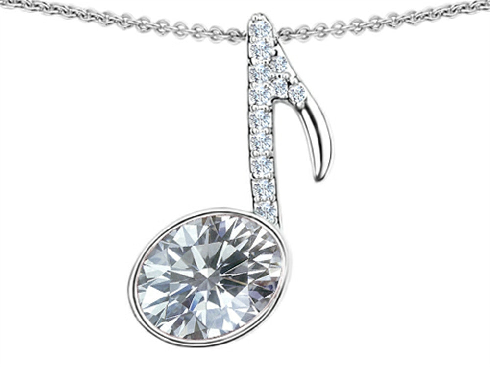 Star K Musical Note Pendant Necklace with Genuine White Topaz Oval Sterling Silver