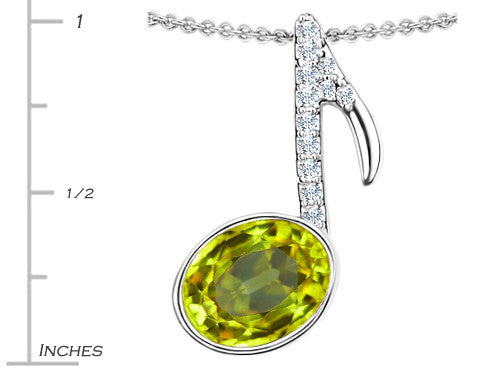 Star K Musical Note Pendant Necklace with Simulated Peridot and Cubic Zirconia Oval Sterling Silver
