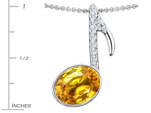Star K Musical Note Pendant Necklace with Simulated Citrine Oval Sterling Silver