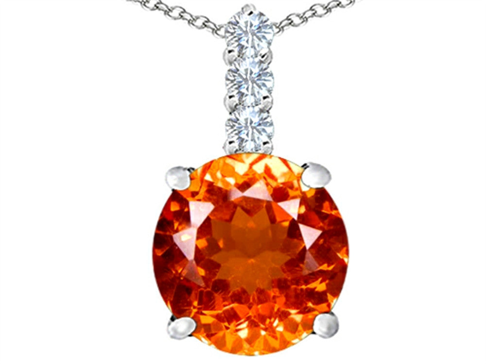 Star K 12mm Round Simulated Mexican Orange Fire Opal Pendant Necklace Sterling Silver
