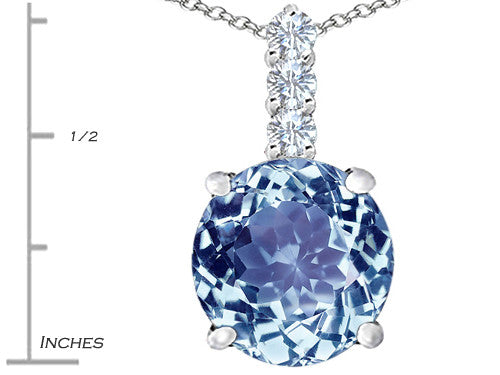 Star K 12mm Round Simulated Aquamarine Pendant Necklace Sterling Silver