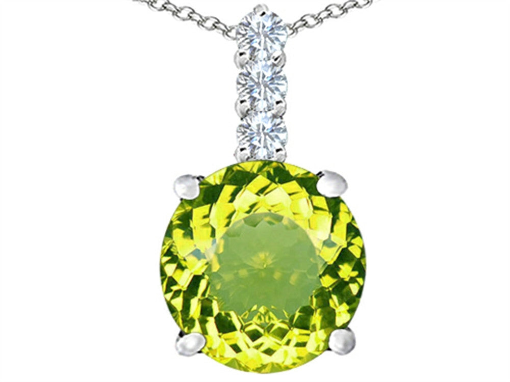Star K 12mm Round Simulated Peridot Pendant Necklace Sterling Silver