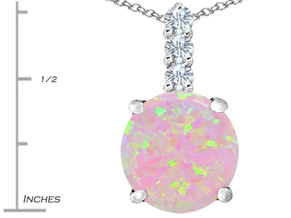 Star K 12mm Round Pink Created Opal Pendant Necklace Sterling Silver