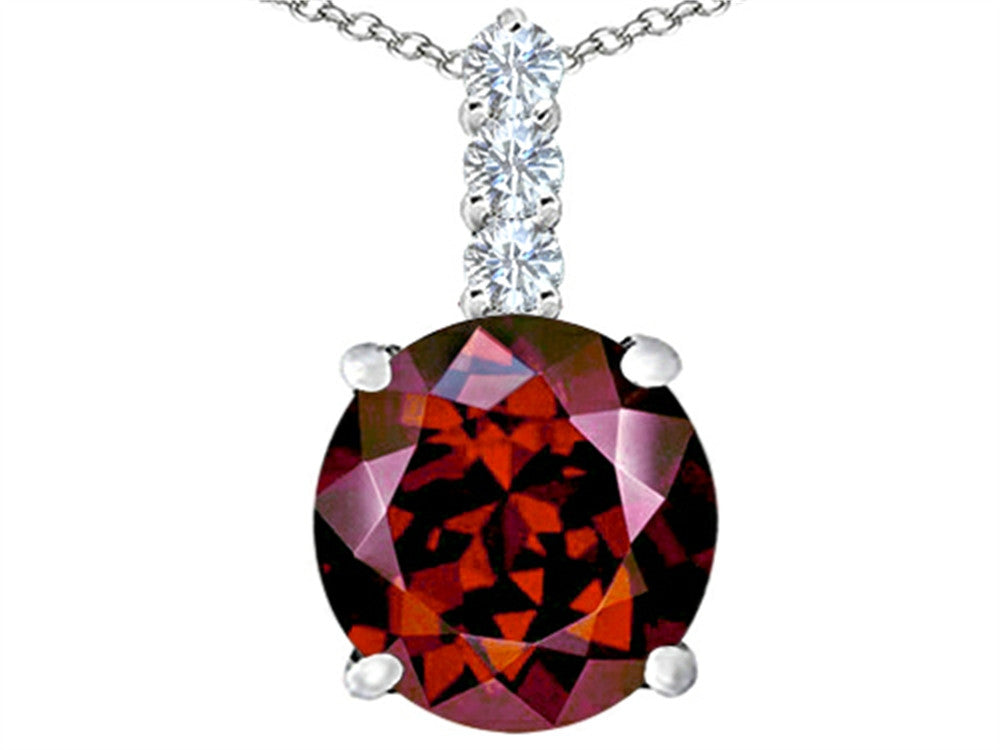Star K 12mm Round Simulated Garnet Pendant Necklace Sterling Silver