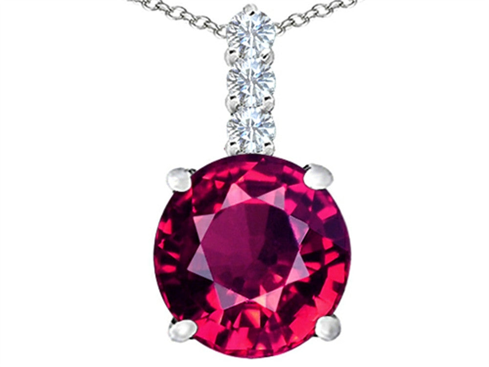 Star K 12mm Round Created Ruby Pendant Necklace Sterling Silver