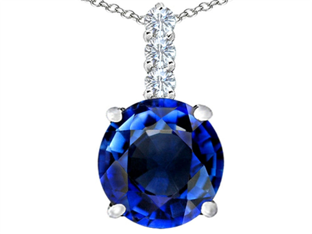 Star K 12mm Round Created Sapphire Pendant Necklace Sterling Silver